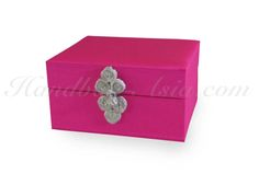 Luxury Jewellery & Gift Box With Deep Pink Silk & Silver Chinese Closure