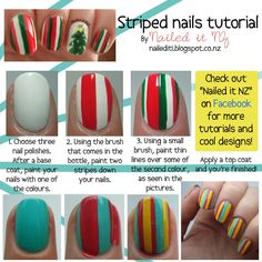 Nailed It NZ: Nail art for short nails #5 - Striped nails http://nailedit1.blogspot.com/2012/11/nail-art-for-short-nails-5-striped-nails.html