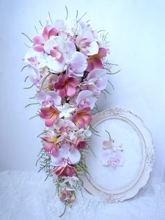 Etsy - Shop for handmade, vintage, custom, and unique gifts for everyone Orchid Bouquet Wedding, Cascading Wedding Bouquets, Calla Lily Bouquet, Bride Bouquets, Floral Bouquets, Floral Wreath, Whimsical Wedding Flowers, White Wedding Flowers, Bouquet En Cascade