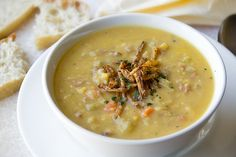 Soothing and savory Golden Split Pea Soup with Smoked Ham and Crispy-Fried Onions.
