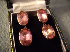 Late 18th century Georgian earrings in pink paste and gilt metal