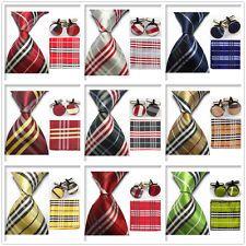 Black Gray Yellow Stripes MEN Neckties TIE Hanky Cufflinks Handkerchief SET IA | eBay