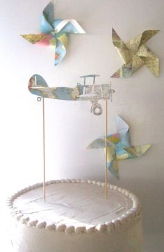 Vintage Airplane Cake Topper Vintage Map Airplane by MagpieandMax