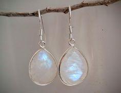 Rainbow Moonstone Earrings  Moonstone Jewelry by HimalayanTreasure