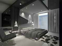 Awesome Futuristic Bedroom Interior Design You Can Try - My Dream House Modern Luxury Bedroom, Luxury Bedroom Design, Luxurious Bedrooms, Interior Design, Bedroom Designs, Futuristic Bedroom, Futuristic Interior, Retro Futuristic, Bedroom Sets