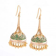 Moghul inspired Jhumki's with Diamonds & Emeralds - A pair of long Jhumki inspired from Moghul monument studded with fine quality emeralds & diamonds, handcrafted in 18K gold.