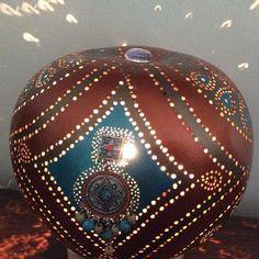 Lampe calebasse  Pérou allumée
