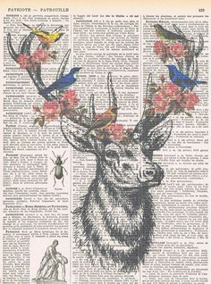 Deerbirds.Collage.Fantasy. Antique Book Pages