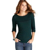 Pieced Stripe Long Sleeve Tee - For visually alluring appeal, we angled the stripes above the yoke of this adorable style. Boatneck. Long sleeves. Zip at back neck.