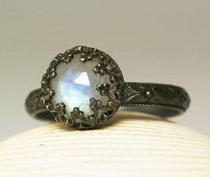 Rainbow Moonstone Ring Sterling Silver Natural Blue Faceted Stone Antiqued-made to order in your size $55.00