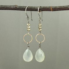 Chalcedony and Pyrite Mixed Metal Earrings