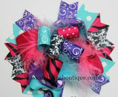 Boutique Hair bow Turquoise, Black, Pink, and Purple over the top funky hair bow