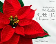 Crochet Poinsettia Pattern Crochet Christmas by HappyPattyCrochet
