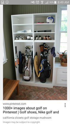 Diy golf locker golf bags lockers and golf california closets golf storage mudroom if you have the room in your mudroom by all means store your golf clubs safely inside your home solutioingenieria Images