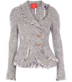 Tweed Jacket by vivienne-westwood-red-label. Navy and white, tweed jacket. Two buttoned off centre front. Double layer from the waist. Curved hem. Frayed lapels, centre front, hem and cuffs. Long sleeves. Slim fit. #Matchesfashion