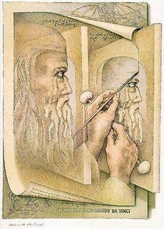 Octavio Ocampo art--- [Homage to] Leonardo da Vinci, Painting Himself Leonardo Da Vinci Dibujos, Jose Maria Velasco, Clemente Orozco, Double Image, Image Painting, Artist Painting, Illusion Art, Sedona Arizona, Fine Art Gallery