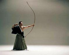 Kyūdō. Japanese archer. hakama- wide trousers. Japan