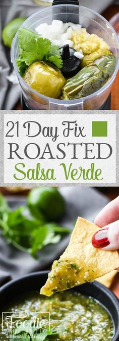 Easy, 21 Day Fix approved homemade roasted salsa verde. Perfect with chips, on tacos or in a 7-layer dip! Gluten Free.