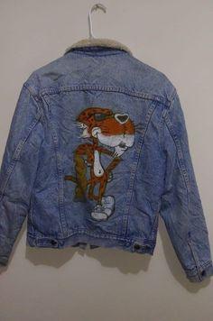 Rare Mens Vintage Levi s denim jacket Sz 40 (M) with Cheetos hand painted  design 863a84cf921