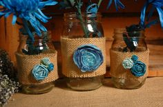 Turquoise Tango set of 3 Mason Jars by PineknobsAndCrickets, $26.75