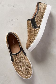 Gold Glitter Slip On Sneakers