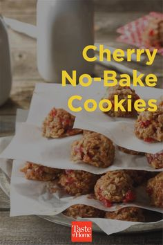 I've always loved my no-bake cookie recipe, but I was never able to place at the fair with it. So I mixed in some maraschino cherries, added a few drops of almond extract, and voila! We won a blue ribbon at the county fair in 2010. —Denise Wheeler, Newaygo, Michigan Summer Desserts, Fun Desserts, Dessert Recipes, Newaygo Michigan, Michigan Cherries, Maraschino Cherries, County Fair, No Bake Cookies, Blue Ribbon