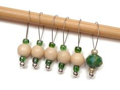 Knitting Stitch Markers Beaded Green Beige Snagless by TJBdesigns