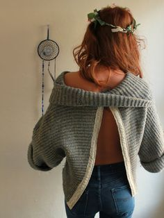Off shoulder open back sweater