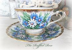 Shafford Japan Hand Decorated Daisy Cup And Saucer