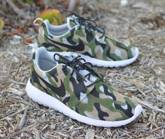 These custom hand-painted Nike Roshe One Sneakers have Camouflage pattern painted all over the shoe. This order is customizable as I can paint this one-of-a-kind, original design on any style Nike sho