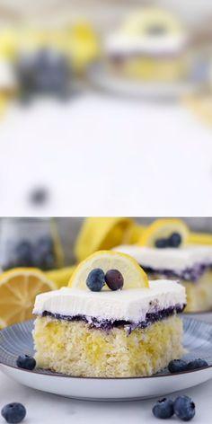 Lemon Blueberry Poke Cake This Lemon Blueberry Poke Cake is a homemade, moist lemon buttermilk cake filled with a lemon pudding, a layer of fresh blueberry sauce and topped with mascarpone whipped cream. The combination of tart lemon flavor and sweetened Lemon Dessert Recipes, Poke Cake Recipes, Poke Cakes, Lemon Recipes, Sweet Recipes, Baking Recipes, Easter Recipes, Lemon Blueberry Bundt Cake, Blueberry Recipes
