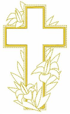 Easter Cross and Lilies Embroidery Design Cross Coloring Page, Coloring Pages, Easter Banner, Church Banners, Easter Cross, Parchment Craft, Images Photos, Satin Stitch, Embroidery Ideas