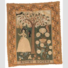 "RUTHY ROGERS SAMPLER/ Ruthy Rogers (1778–1812), Marblehead, Massachusetts, c. 1789, silk on linen, 10 1/2 × 9"", gift of Ralph Esmerian, collection of the American Folk Art Museum. Accession Number: 2005.8.53."