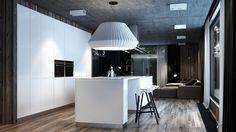 offener Wohnbereich - matt weiße Küche mit Kochinsel