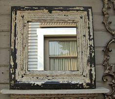 Rustic vintage mirror. 2x2 Framed ANTIQUE by DriveInService