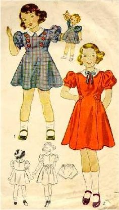 This is a wonderful girls' dress pattern--very Shirley Temple-esque--for girls' dresses. I love the tailored look of this era. Source by ideas for girls Vintage Girls Dresses, Little Girl Dresses, 1930s Fashion, Fashion Sewing, Kids Fashion Boy, Girl Fashion, Fashion Tips, Dress For Girl Child, Children Dress
