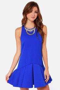 Cameo Why Ask Cobalt Blue Drop Waist Dress