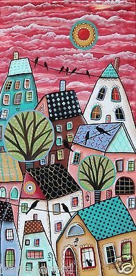 Patterned Roofs ORIGINAL CANVAS PAINTING 12x24 inch FOLK ART Abstract Karla G | Art, Direct from the Artist, Paintings | eBay!