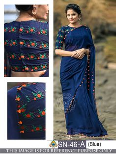Stand out from the rest of the crowd wearing this Blue Colored Beautiful Georgette Saree from the house of Grab and Pack. Made of georgette, this saree is quite comfortable to wear. The Beautiful Embroidary makes this saree look even. Saree Blouse Neck Designs, Fancy Blouse Designs, Saree Blouse Patterns, Dress Patterns, White Patterns, Saree Color Combinations, Sari Bluse, Bollywood Designer Sarees, Bollywood Saree