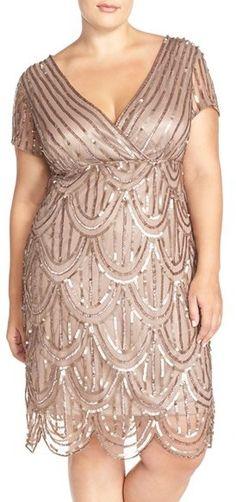 Plus Size Beaded Empire Waist Dress - Plus Size Cocktail Dress