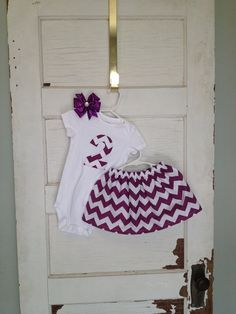 Baby girls 2nd Birthday outfit in purple chevron on Etsy, $34.00