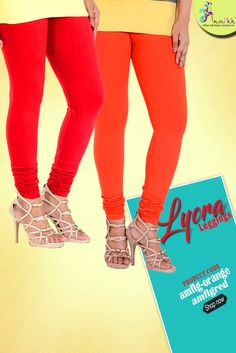 Hold your casual yet trendy look by pairing this orange lycra #leggings. Buy Now in ₹220  #casualwear #ethnic