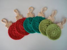 Christmas Tree Ornament Coasters crocheted in by ApplesandHolly, $18.00