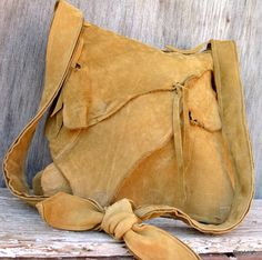 Rustic Leather Natural Edge Bag in Mustard Brown by stacyleigh, $250.00
