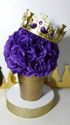 FLOWER PAIL Purple and Gold Baby Shower by PlatinumDiaperCakes