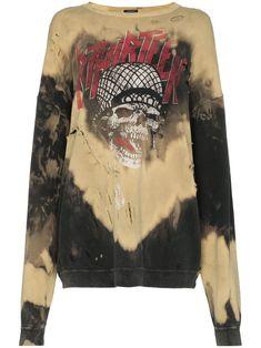Battle Punk Bleached Sweatshirt In Brown Sophia Webster, Subcultura Punk, Acne Studios, Balmain, Givenchy, Burberry, Body Manga Longa, Tie Dye, Homemade Black
