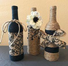 Set of 3 Twine Yarn Burlap Wrapped Wine Bottles 6 yarn colors image 4 Wrapped Wine Bottles, Empty Wine Bottles, Painted Wine Bottles, Chevron Gris, Custom Wine Bottles, Wine Bottle Crafts, Bottle Art, Glass Bottle, Butterfly Wall Decor