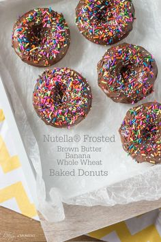 Nutella Frosted Brown Butter Banana Whole Wheat Baked Donuts | Baking a Moment