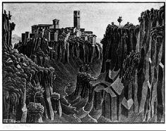 M.C. Escher – Barbarano, Cimino, 1929, Lithograph