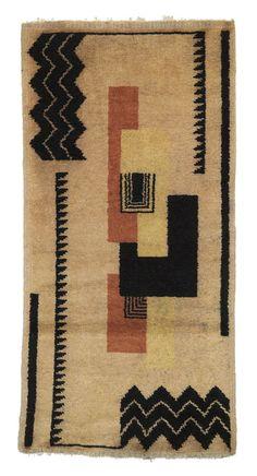 French Art Deco: Carpet style of Ivan DA SILVA-BRUHNS. Wool, handwoven. Circa 1930.